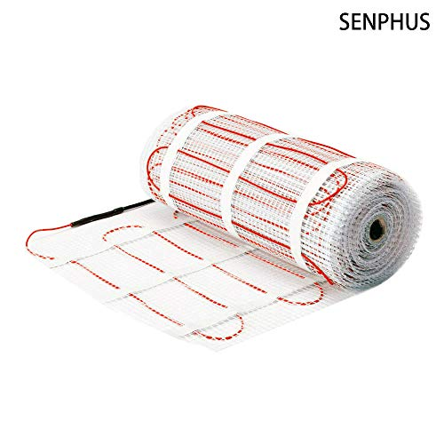 SENPHUS 120V Underfloor Radiant Heating Mat Dual Core Electric Cables System Warm In Tiles 60sqft