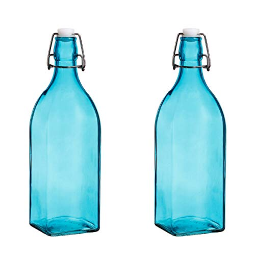 Set Of 2, Colorful Reusable Glass Water Bottles With Swing Top Leakproof Cap, 1L / 34oz, Flowersea Glasss Water Bottle for Home Brewer, Beverages, Fridge, Kefir, Water, Beer (Blue, Square Bottom)