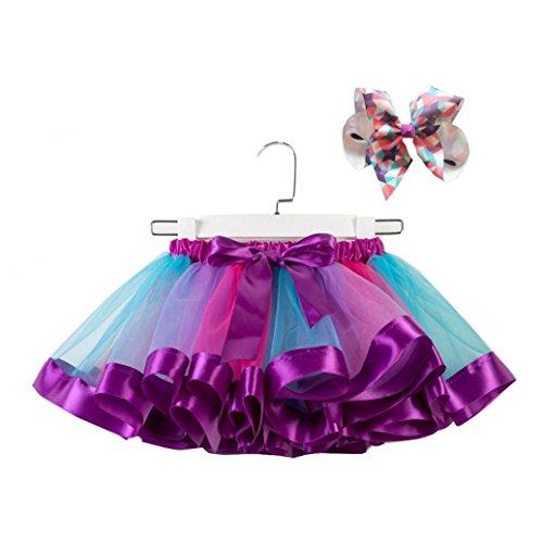 (Foncircle Toddler Baby Girls Kids Fashion Clothes Set Tutu Party Dance Rainbow Princess Ballet Costume Skirt Bow Hairpin Set (PURPLE, L))