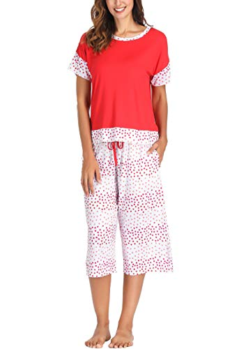 Pj Clothes Heart - Ink+Ivy Women Pajama Set Oversized Tee and Capri Lounge Pants Red White Hearts Small