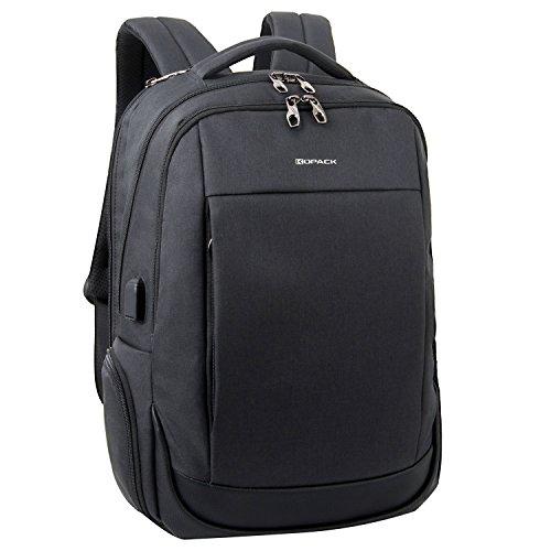 Kopack Deluxe Red Waterproof Men Laptop backpack 15.6 17 Inch Travel gear business trip double laptop compartment bag (Medium, Side open Black)