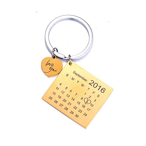 Personalised Custom Engraved Calendar Date Engraved Stainless Steel Keyring & Keychain Memorial Wedding Gift (Heart Gold)