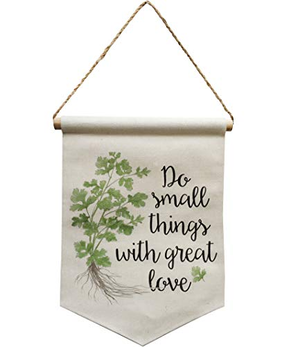 NITYNP Do Small Things with Great Love, Banner Linen Flag Wall Decor Sign with Rope,Quote Sayings for Office and Home Decor 15.8''x11.38''