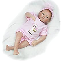 Pursue Baby Life Size Soft Body Real Looking Baby Girl Doll Opened Eyes, 20 Inch Realistic Poseable and Weighted Newborn Doll with Pacifier