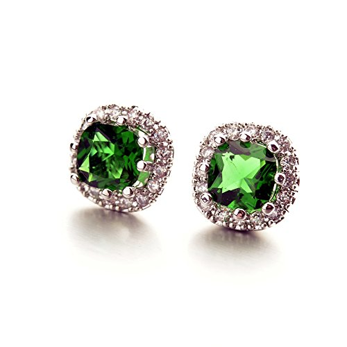 White-Gold-Plated-Cushion-Shaped-Emerald-Green-Cubic-Zirconia-Crystal-Stud-Earrings-Fashion-Jewelry-for-Women
