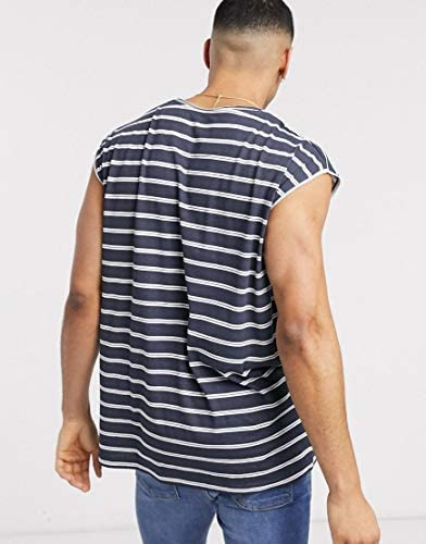 ブレイブソール タンクトップ ノースリーブ アームホール メンズ Brave Soul sleeveless t-shirt vest in stripeRRP [並行輸入品]