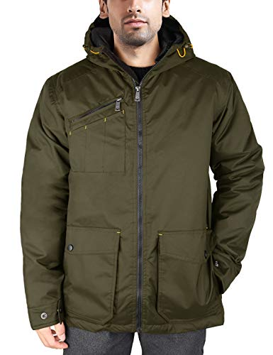 - HARD LAND Men's Winter Work Jacket Military Coat Waterproof Insulated Parka with Hood Size M Olive Drab Green