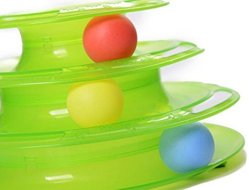 Gimilife Pet Three Levers Tower of Tracks Interactive Cat Toys Pet Ball Toys Amusement Plate for One or More Cats (Green)