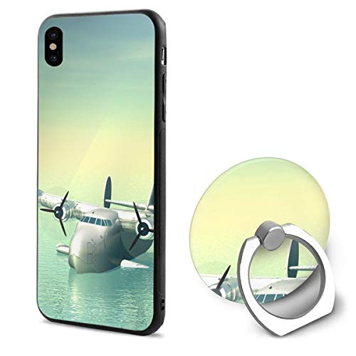 IPhone X Case Aircraft Image With Ring Holder 360 Degree Rotating Stand Grip Mounts Slim Soft Protective ()