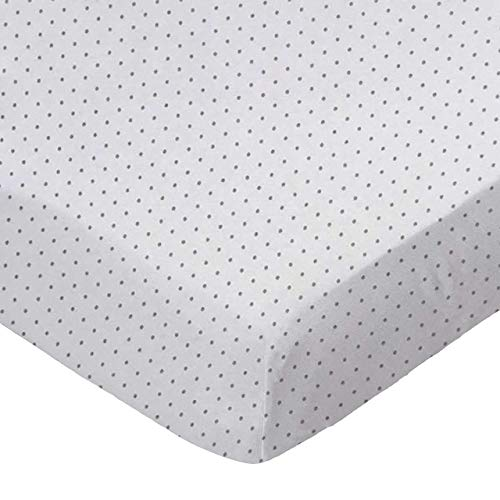 """SheetWorld Fitted 100% Cotton Jersey Play Yard Sheet Fits BabyBjorn Travel Crib Light 24 x 42, Grey Pindot, Made In USA"""