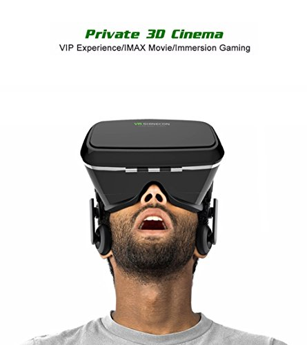3D VR Glasses Headset Virtual Reality Box with Adjustable Lens and Strap for iPhone 5 5s 6 plus Samsung S3 Edge Note 4 and 4.7-6 inch Smartphone, Ideal for 3d Videos Movies Games (1st Generation)
