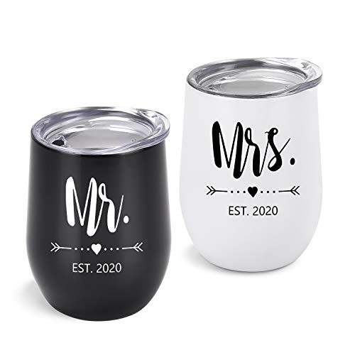 Mr and Mrs EST 2020 Wine Tumbler Bridal Shower Gift for Bride and Groom, 12 Oz Mr Mrs Tumblers Wedding Gift for Newlyweds Couples Bride to Be His and Her Engagement Honeymoon, Set of 2 (The Groom Wedding For Gift)