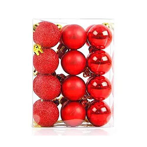 TangTanger Christmas Ball Assorted Pendant Shatterproof Ball Ornament Set Seasonal Holiday Wedding Party Decorations(24 pcs, 3 cm) (Red)