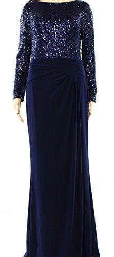 Lauren by Ralph Lauren Womens Sequined Long Sleeve Formal Dress Navy 4