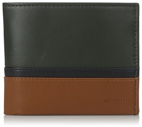 Tommy Hilfiger Men's Nelson Double Billfold, Dark Olive/Navy/Saddle, One Size