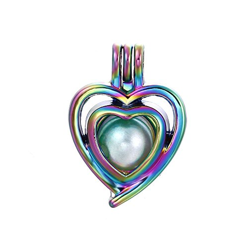 10pcs Colored Heart Pearl Beads Cage Locket Pendant Aroma Essential Oil Diffuser Locket DIY Necklace Earrings Bracelet Jewelry Making Supplies (Heart-1)