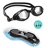 TOPLUS Swimming Goggles, No Leaking Anti Fog UV Protection Swim Goggles Soft Silicone Nose Bridge for Men, Women, Junior, Kids (Black)