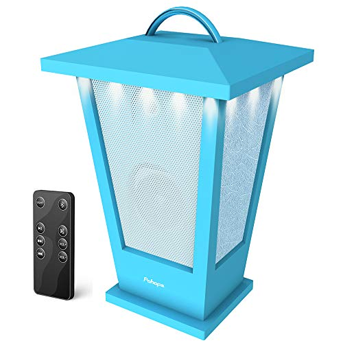 Portable Bluetooth Speakers Waterproof - Pohopa Lantern Indoor Outdoor Wireless Speaker with Lights, 10W Surround Bass, 20 Piece LED Lights, Support Remote Control (Blue)