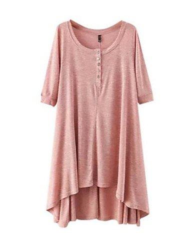 PU&PU Robe Aux femmes Ample Simple,Couleur Pleine Col Arrondi Au dessus du genou Polyester , pink-one-size , pink-one-size