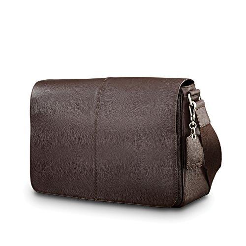 (Samsonite Mens Leather Classic Messenger Dark Brown)