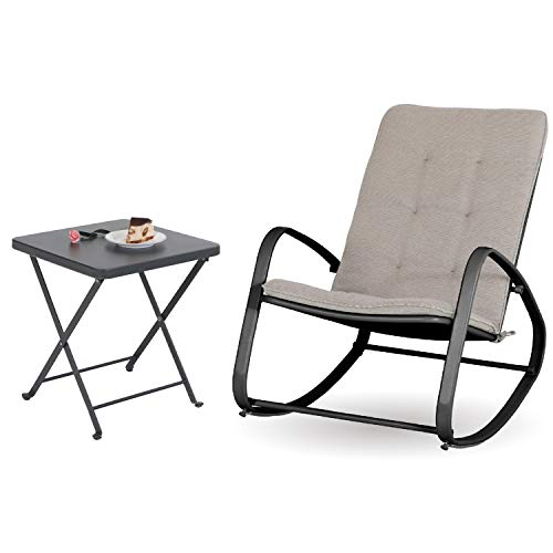 Sophia and William Outdoor Patio Rocking Chair Folding Patio Side Table Rocker Chair with Small Square End Tables (Black&Grey)