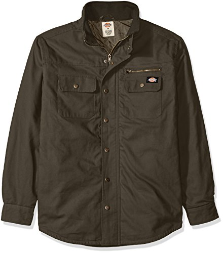 Dickies Men's Relaxed Fit Utility Quilted Shirt Jacket, Moss, 4X