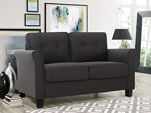 Lifestyle Solutions Harley Upholstered Fabric Rolled Arms Loveseat, Heather Grey