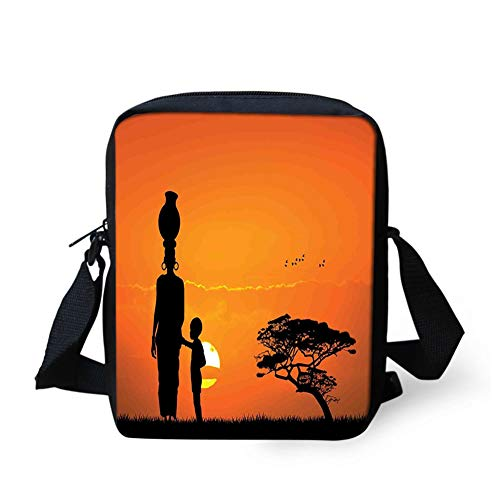 Messenger Bag,Unisex,Child and Mother at Sunset Walking in Savannah Desert Dawn Kenya Nature Image.9x8x2inches