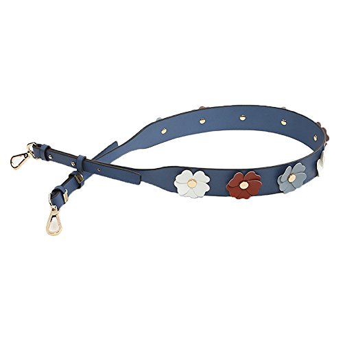- Myathle Wide Flower Purse Straps Replacement Vintage Guitar Handbags Strap for Shoulder Bags Gold Blue