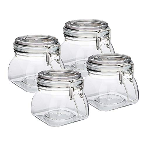 The Grindstone | 500 ml (16 Oz) PET Plastic Kilner Style Jars | Pyramid Style Clear Acrylic Jars | Locking Mason Style Canister Lids | Multiple Uses | Airtight Snap on Lids with Clasp | Pack of 4 (16 Ounce Plastic Canisters)
