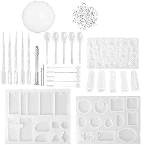(C-Pioneer Resin Casting Mold Tool Set Silicone Mold Stirrers Droppers Spoons Hand Twist Drill & Screw Eye Pins for Pendant Jewelry)