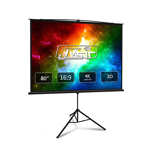 Projector Screen with Stand 80 inch 16:9 HD 4K Portable Indoor Outdoor Movie Screen Foladable Outdoor Projector Screen Wrinkle Free Pull Up Projector Screen with Stand for Office,Home Theater