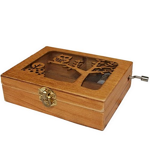 Engraved Wooden Music Box With An Owl Engraved On Top Perfect Gift for Graduation/Birthdays/ Happy Potter fan