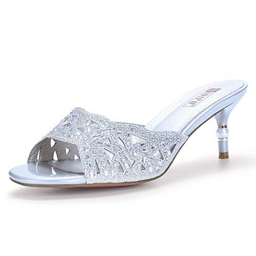 IDIFU Women's IN2 Nina Rhinestone Open Toe Slide Heeled Sandals Stiletto Kitten Heel Dress Party Mule Shoes (9.5 M US, Silver)