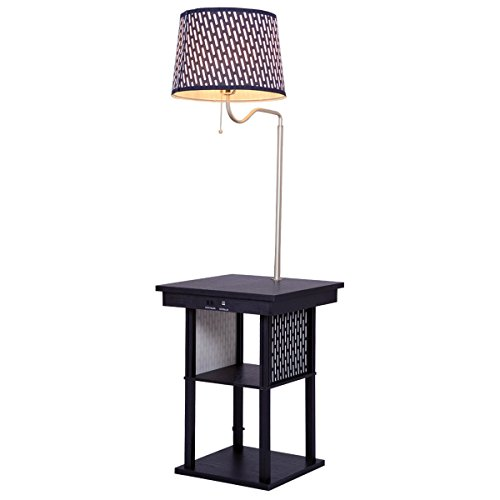 Costzon Floor Lamp, Swing Arm Lamp w/ Shade Built In End Table Includes 2 USB Ports (Black Shade) Built In Lamp