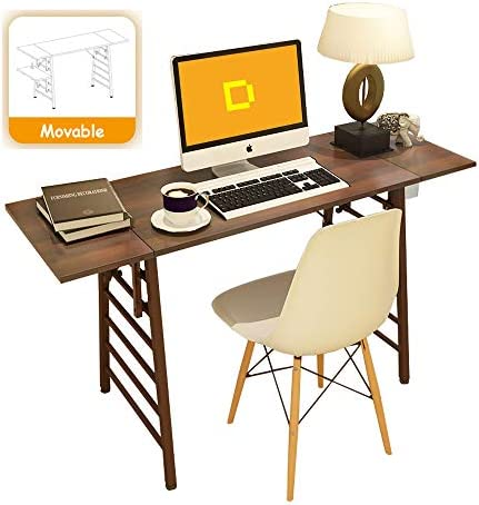 Computer Desk for Home Office, 54inch Large Modern Simple Desk Writing Table Study Desk with Movable Side Board, Creative Laptop Desk for Office,Walnut Wood