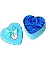 Iuhan 6Pcs Heart Scented Bath Body Petal Rose Flower Soap Wedding Decoration Gift Best (Blue)