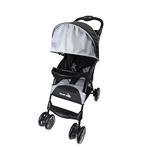 Wonder Buggy Baby Stroller with Round Canopy and Basket Multi Positions Easy Fold, Color Black