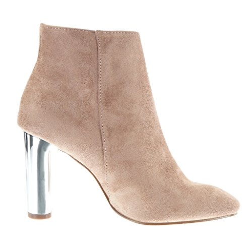 Angkorly Zapatillas Moda Botines low boots elegante mujer metálico Tacón ancho alto 9 CM Rosa