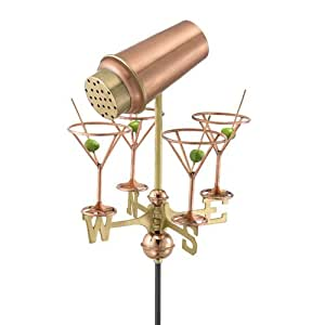 Good Directions Good Directions Martini with Glasses Garden Weathervane - Polished, Copper, For Small Structures