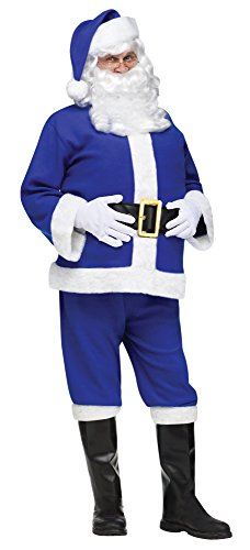 Fun World Costumes Men's Adult Frosty Flannel Santa Costume, Blue, One Size