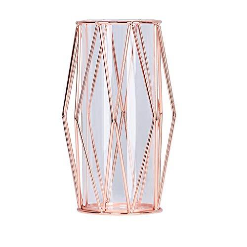 - Sunny Lingt Diamond Wrought Iron Pen Holder Desktop Organizer Vase Nordic Glass Tube Flower Inserter Desktop Decoration Creative Home Office Desk Ornaments Stationery Gifts