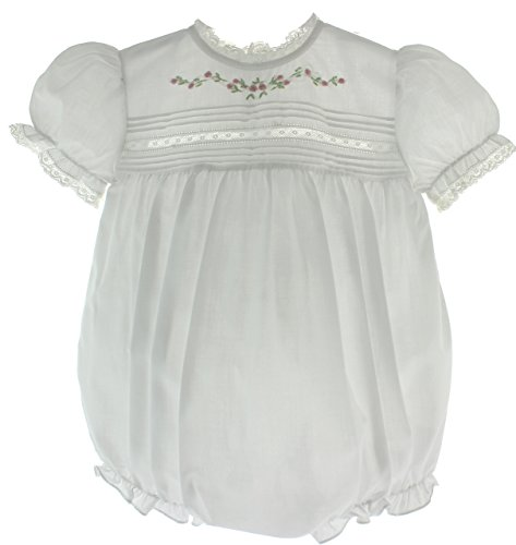 Infant Girls White Dressy Bubble Outfit Lace Trim Heirloom Baby Clothes -