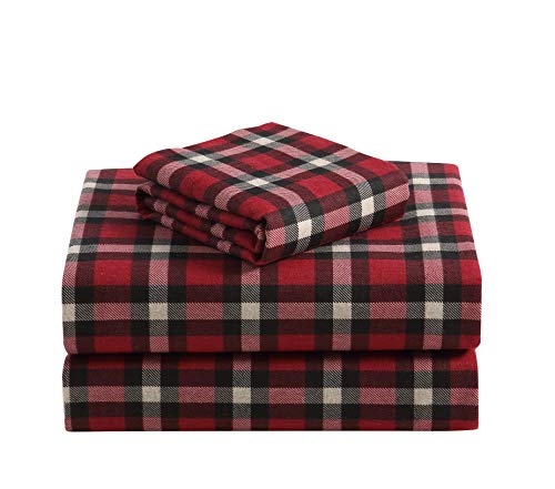 Sheet Plaid Fitted - Morgan Home Fashions Cotton Turkish Flannel Sheets 100% Brushed Cotton for Supreme Comfort - Deep Pockets - Warm and Cozy, Great for All Seasons (Dover Plaid Red, Twin)