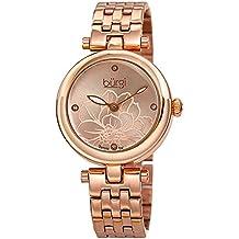 Burgi Stainless Steel Designer Women's Watch – Rose Gold Tone Case, 4 Genuine Diamond Markers on Flower Embossed Sunray Dial - BUR223RG