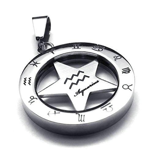 Diamond Leash Spinner Black - Daesar Stainless Steel Necklaces Mens Pendant Necklace Zodiac Spinner Aquarius 18-28 Inch