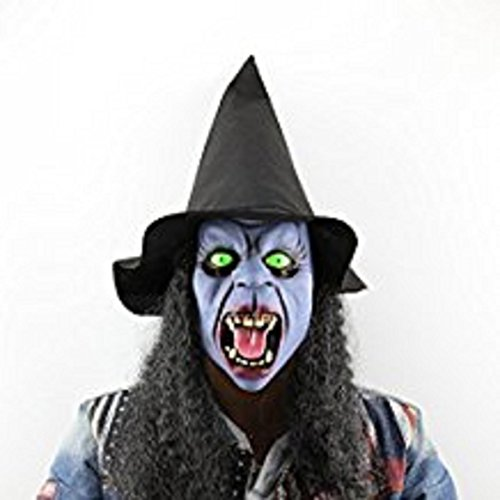 Prom Night Toilet Baby Costume (Coerni Funny Realistic Night Witch Half Face Latex Mask with Hair for Halloween Masquerade Prom Party Accessories)