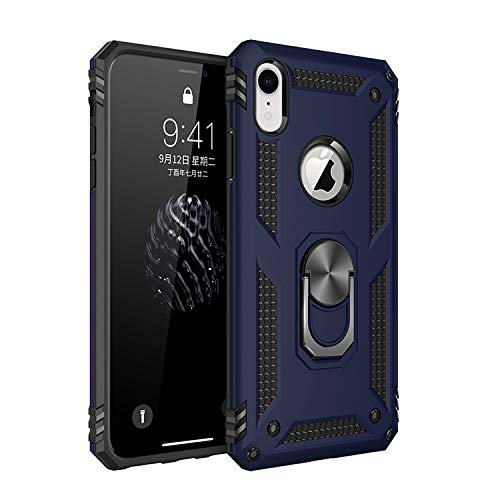 Funda iPhone XR Armor Carcasa con 360 Anillo iman Soporte Hard PC y Silicona TPU Bumper antigolpes Fundas Carcasas Case para movil