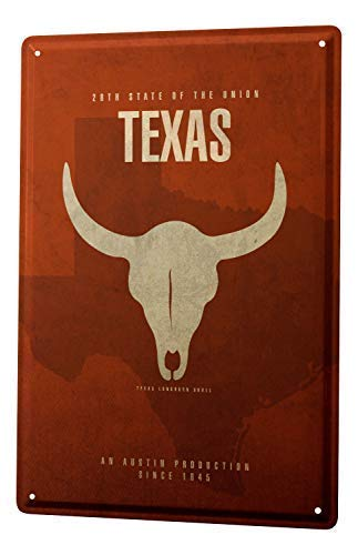 HarrodxBOX World Trip USA Texas Longhorn Decorative Wall Plate Metal Signs Funny Aluminum Sign for Garage Home Yard Fence Driveway