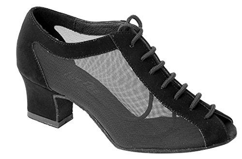 Zapatos Muy Finos Para Damas Y Tacones Cubanos Serie 1643 Negro Nubuck